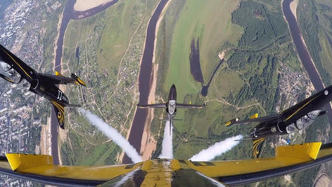 Beautiful flying flight group. (GoPro) Footage