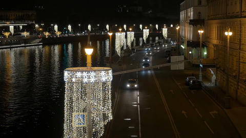 City embankment, festive New Year's lights. View from above Footage