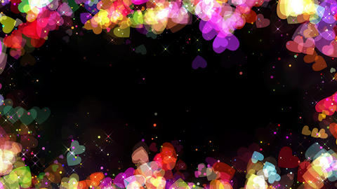 Valentine colorful hearts frame background with alpha, looped Animation