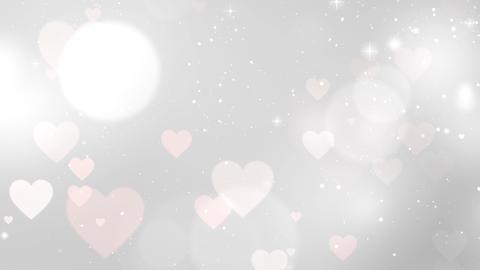 White hearts Valentine background, looped Animation