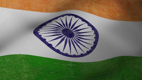 Waving National Flag of India Loop Animation