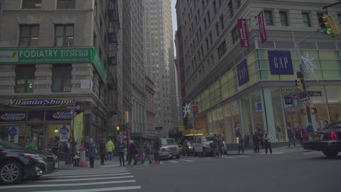 New York Day Manhattan peopel Crowded Crossroad 4K Usa Footage
