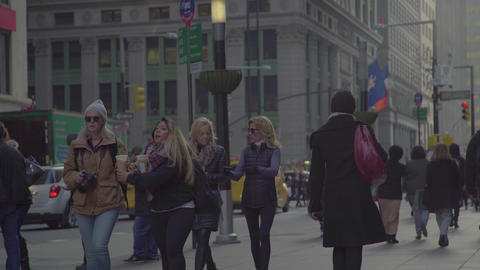 Crowd Walking Street Sidewalk New York City Manhattan People Live Action