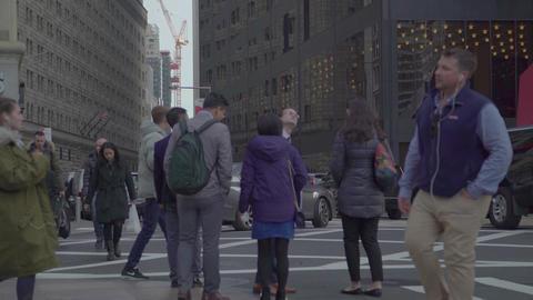 Crowd Walking Street Sidewalk New York City Manhattan People, NYC Live Action