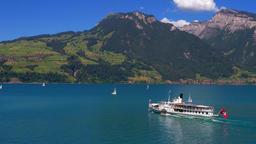 Excursion boat on the Lake Thun, Bernese Oberland, Switzerland, Europe Footage