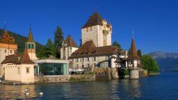 Oberhofen Castle on Lake Thun, Bernese Oberland, Switzerland, Europe Footage