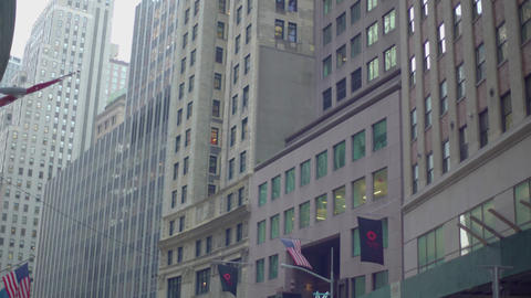 Building in New York from moving shot, Downtown, USA Footage