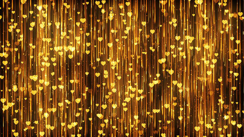 Hearts Gold Particles Background Stock Video Footage