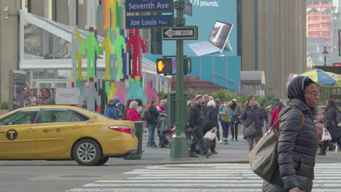 The Streets Of Manhattan Are Crowded With people, slow motion Footage