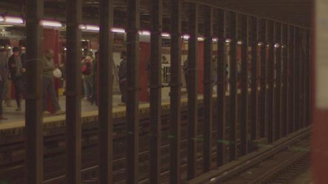 Subway Station Platform, New York, slow motion Footage