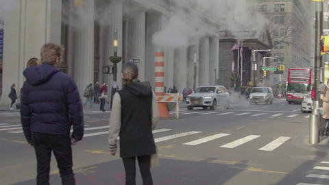 NYC pedestrian people and cars, slow motion, USA Footage