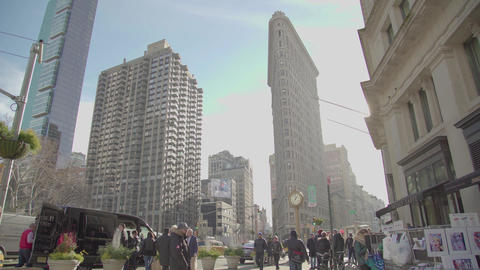 Flatiron Building 5Th Ave Clock Manhattan New York City Nyc Cars People Footage