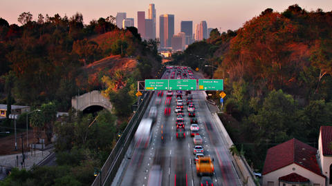 Timne Lapse Traffic Freeway Los Angeles 영상물