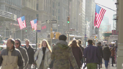 Crowd Of People Walking On New York City Street Slow Motion USA Footage