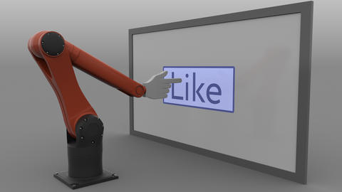 Industrial robot arm pushing like button. Automated social media promotion Footage