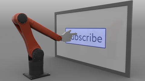 Modern robotic arm pushing Subscribe button. Automated social media promotion Footage