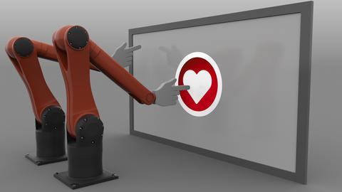 Two robotic arms scrolling and clicking heart-shaped like button. Seamless Footage