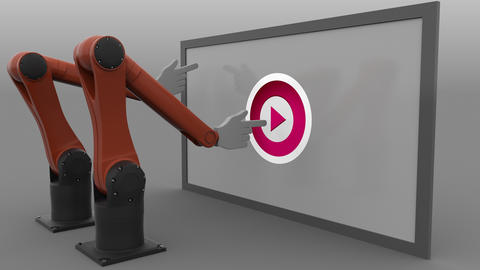 Two stylized robotic arms scrolling the screen and clicking Play buttons Footage