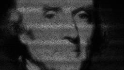 Animation of norteamerican presidente Thomas Jefferson made with numbers running Animation