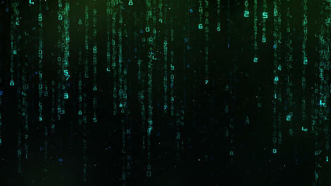 Futuristic Digital Numbers Falling Down Background Live Action