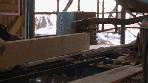 Carpenter manages industrial saw machine with wood log Footage