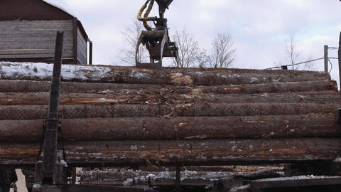 Truck loader crane claw picks up lumber cutted trees Footage