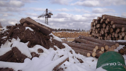 Sawmill yard stored piles of timber logs materials covered in snow Footage