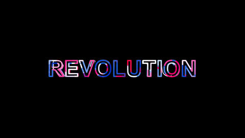 Letters are collected in text REVOLUTION, then scattered into strips. Bright Animation