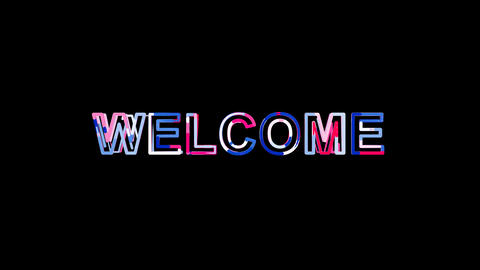 Letters are collected in text WELCOME, then scattered into strips. Bright Animation