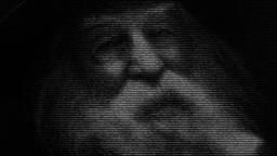 Animation of face of poet Walt Whitman made with numbers running Animation