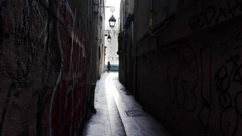 Rue du Chat qui Peche, the narrowest street in Paris Footage
