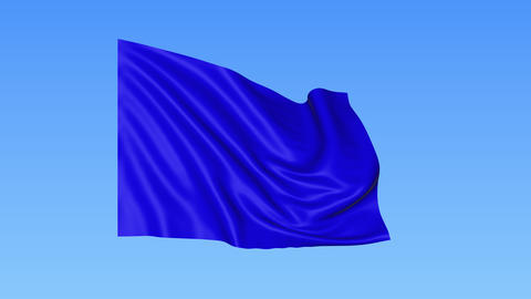 Waving glossy blue flag, seamless loop. Blue background. Part of set. 4K ProRes Footage