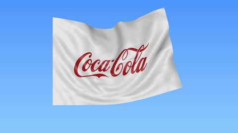 Waving flag with Coca-Cola logo, seamless loop, blue background. Editorial Footage