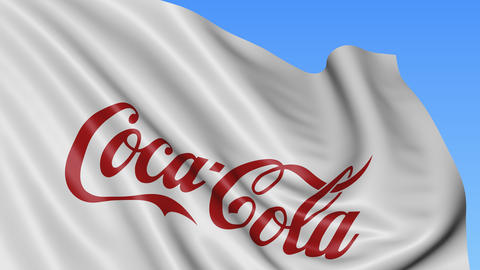 Close up of waving flag with Coca-Cola logo, seamless loop, blue background Footage