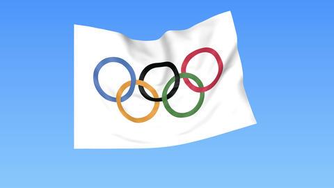 Waving Olympic flag, seamless loop Footage