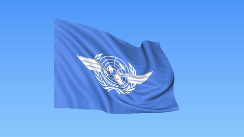 UN International Civil Aviation Organization ICAO flapping flag. Seamless Footage