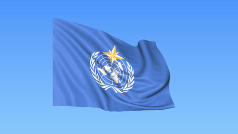 UN World Meteorological Organization WMO flapping flag. Seamless looping, 4K Live Action
