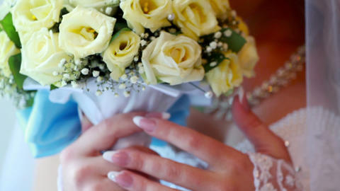 Wedding roses bouquet Stock Video Footage