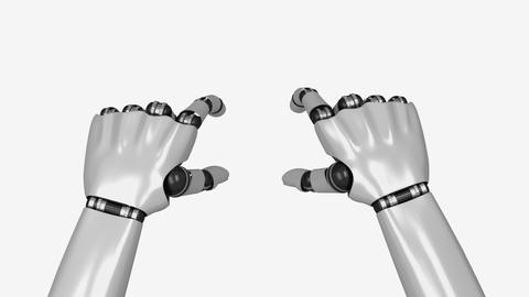 Artificial Hands Operate Touchpad - Scale Gesture Stock Video Footage