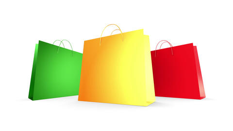 Three shopping Bags Zoom (HD 30fps + Alpha) Stock Video Footage