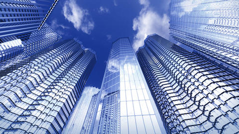 Skyscrapers with reflection in loop Stock Video Footage