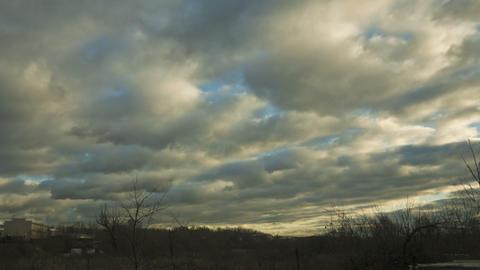 autumn twilight clouds Stock Video Footage
