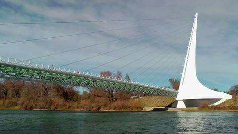 Sundial Bridge over Sacramento River Stock Video Footage