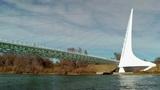 Sundial Bridge over Sacramento River Footage