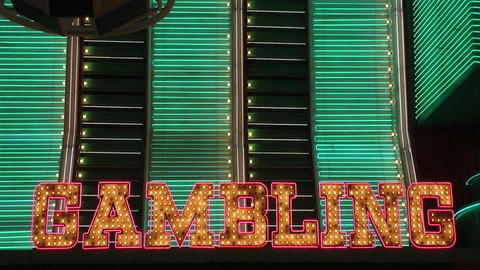 The word Gambling in neon lights Footage