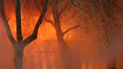 Fire consumes a building Stock Video Footage
