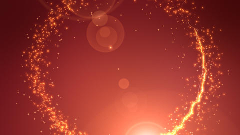 Shiny sparks making circle around red background Animation