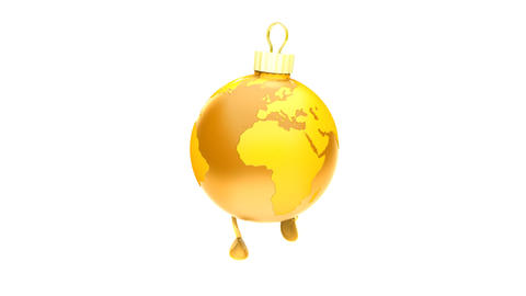 Walking Christmas ball Earth GOLD Loop (HD 30 fps + Alpha) Stock Video Footage