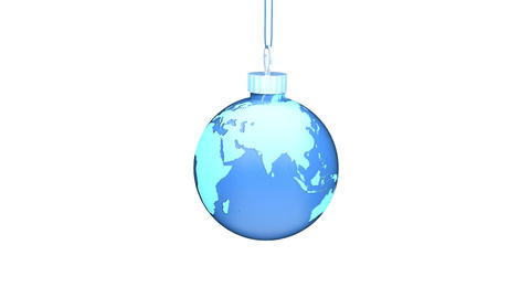 Christmas Ball EARTH blue Loop (HD 30fps + Alpha) Stock Video Footage