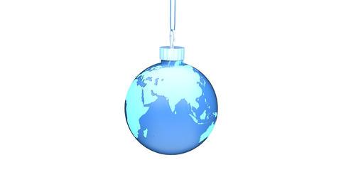 Christmas Ball EARTH blue Loop (HD 30fps + Alpha) Stock Video Footage